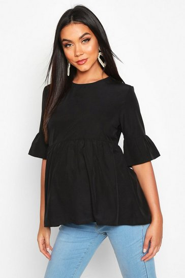 Womens Black Maternity Woven Smock Top