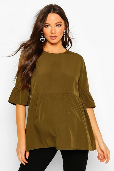 Womens Khaki Maternity Woven Smock Top