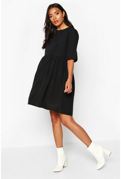 Black Maternity Woven Smock Dress