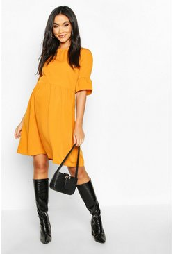 Womens Mustard Maternity Woven Smock Dress