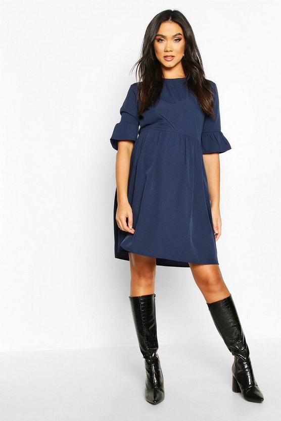 Navy Maternity Woven Smock Dress