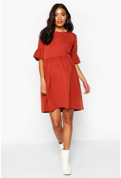 Womens Rust Maternity Woven Smock Dress