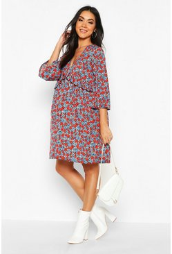 Black Maternity Ditsy Floral Woven Smock Dress