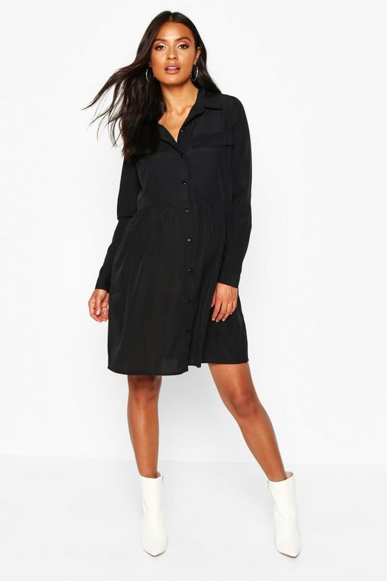 Womens Black Maternity Button Front Woven Smock Shirt Dress