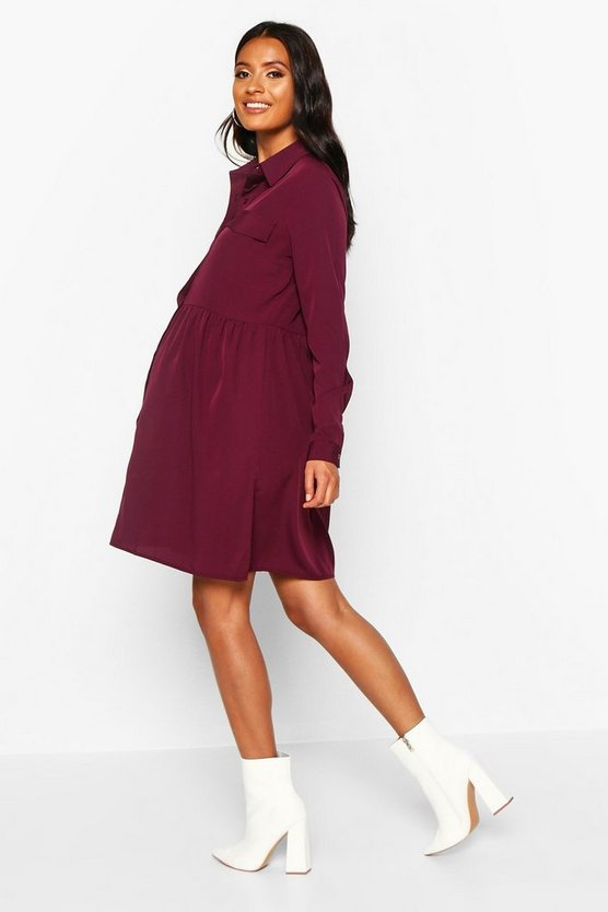 Maternity Button Front Woven Smock Shirt Dress