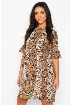 Tan Maternity Snake Print Woven Smock Dress