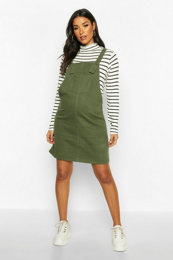 Womens Khaki Maternity Denim Pinafore Dress
