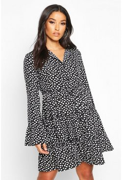 Womens Black Maternity Polka Dot Smock Shirt Dress