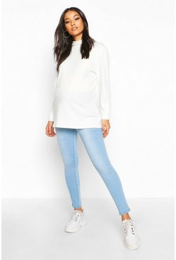 Womens Mid blue Maternity Under The Bump Skinny Jean
