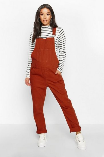Womens Rust Maternity Denim Dungaree