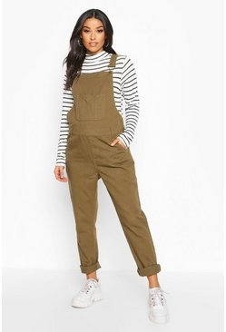 Womens Khaki Maternity Denim Dungaree