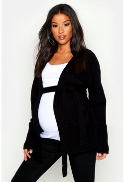Womens Black Maternity Tie Waist Wrap Cardigan