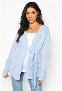 Powder blue Maternity Tie Waist Wrap Cardigan