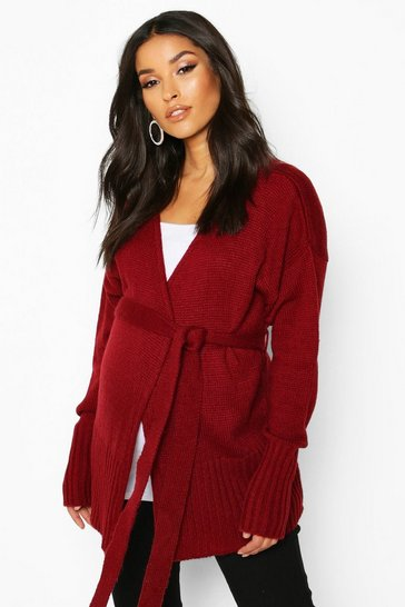 Womens Wine Maternity Tie Waist Wrap Cardigan