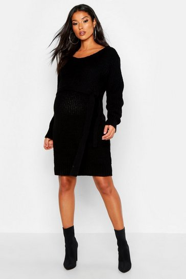 Womens Black Maternity Slash Neck Tie Waist Jumper Dress