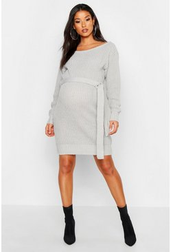 Womens Light grey Maternity Slash Neck Tie Waist Jumper Dress