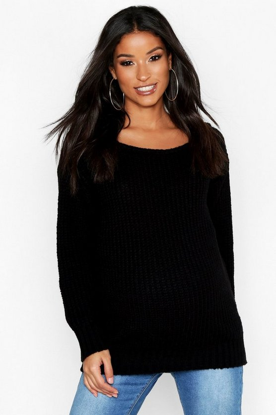 Womens Black Maternity Slash Neck Jumper
