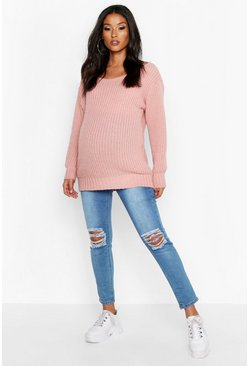 Womens Dusky pink Maternity Slash Neck Jumper
