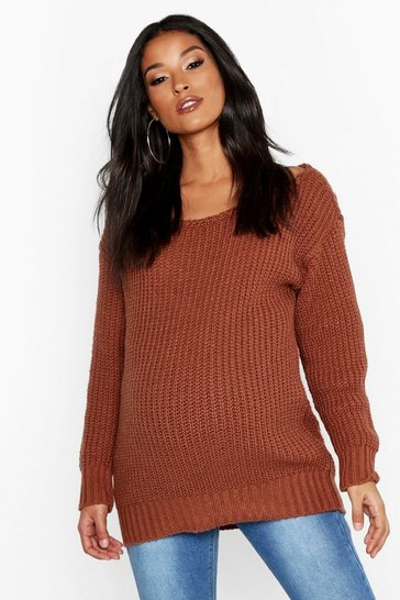Womens Rust Maternity Slash Neck Jumper