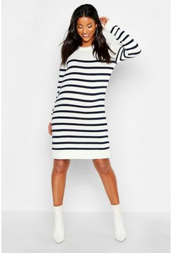 Womens Cream Maternity Stripe Jumper Dress