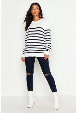 Womens Cream Maternity Stripe Crew Neck Jumper