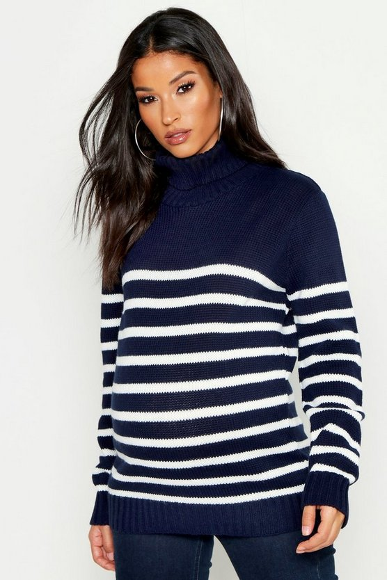 Maternity High Neck Stripe Jumper