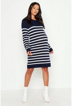 Womens Navy Maternity Stripe Jumper Dress