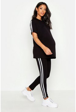 Womens Black Maternity Side Stripe Lounge Set