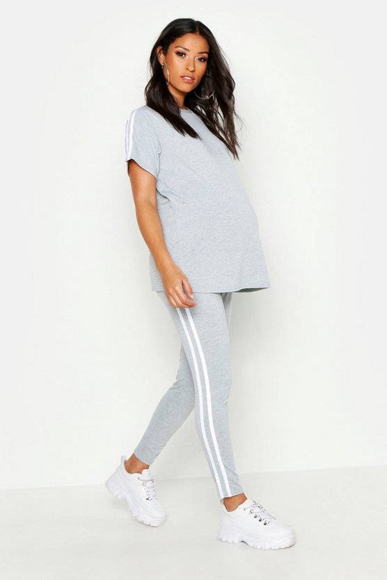 Grey marl Maternity Side Stripe Lounge Set