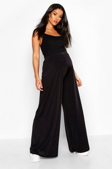 Womens Black Maternity Wide Leg Slinky Trouser