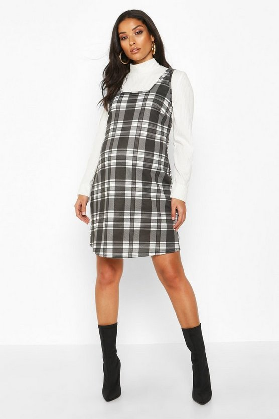 Dam Black Maternity Check Pinafore Dress