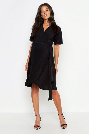 Womens Black Maternity Slinky Wrap Midi Dress