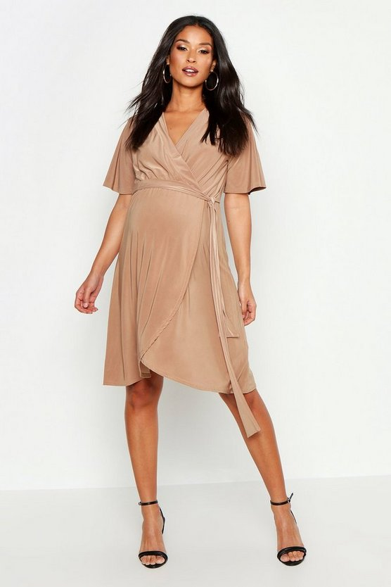 Womens Camel Maternity Slinky Wrap Midi Dress