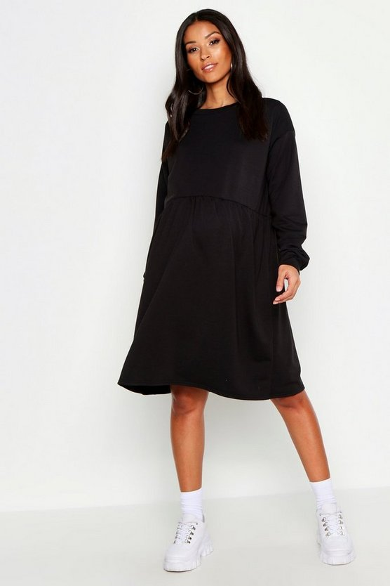 Robe sweat de maternité à smocks, Noir, Femme