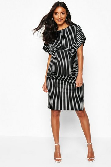 Womens Black Maternity Tie Waist Stripe Batwing Midi Dress
