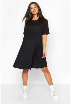 Womens Black Maternity Crochet Trim Smock Dress