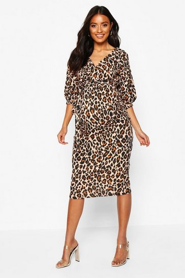 7bbd5c3ada Maternity Leopard Off The Shoulder Bodycon Dress