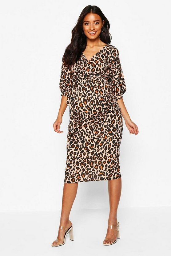 Womens Tan Maternity Leopard Off The Shoulder Bodycon Dress