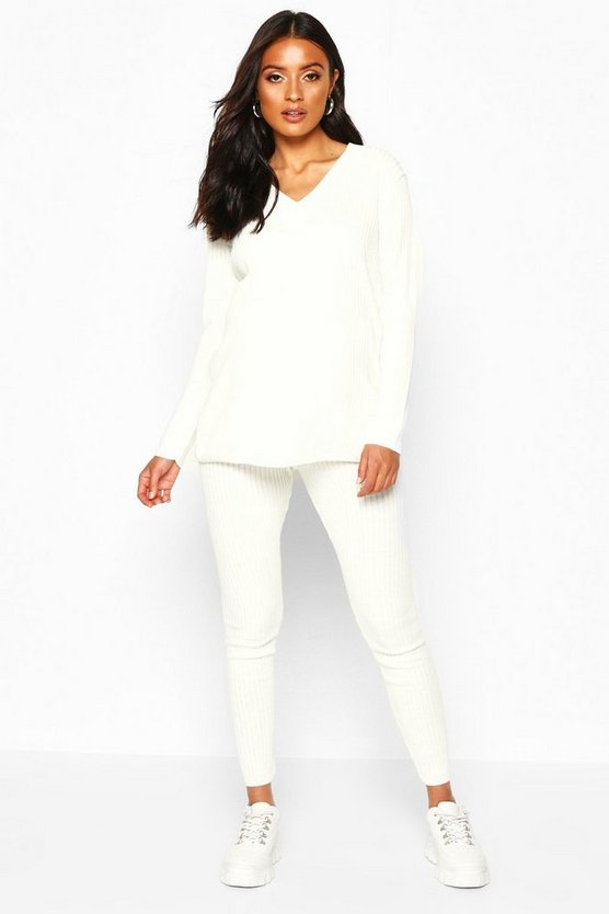 Womens Cream Maternity Knitted Rib Jumper+ Legging Co-ord