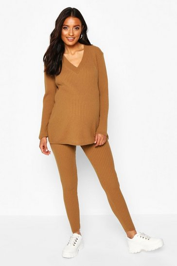 Womens Tan Maternity Knitted Rib Jumper+ Legging Co-ord