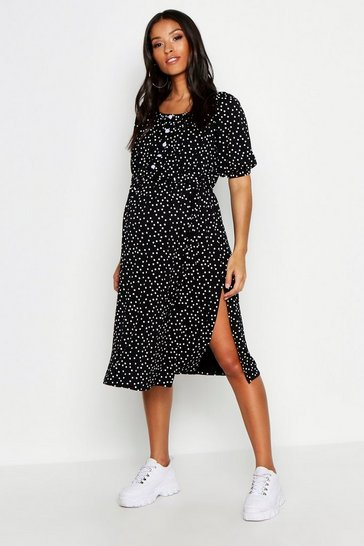 Womens Black Maternity Off Shoulder Polka Dot Midi Dress