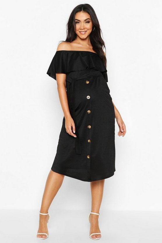 Black Maternity Off The Shoulder Midi Dress