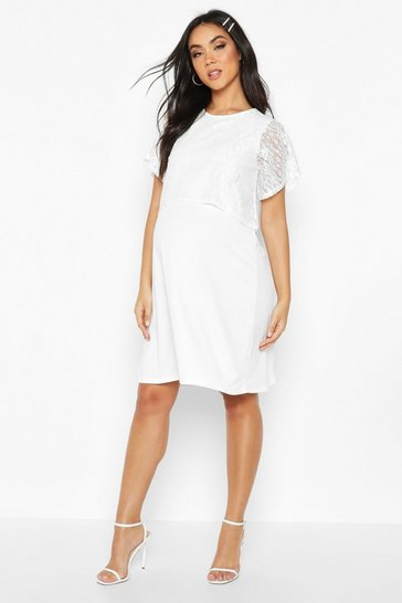 Womens White Maternity Double Layer Lace Shift Dress