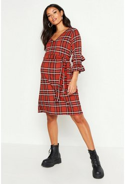 Womens Rust Maternity Check Ruffle Shift Dress