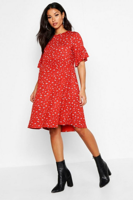 Rust Maternity Ditzy Floral Smock Dress