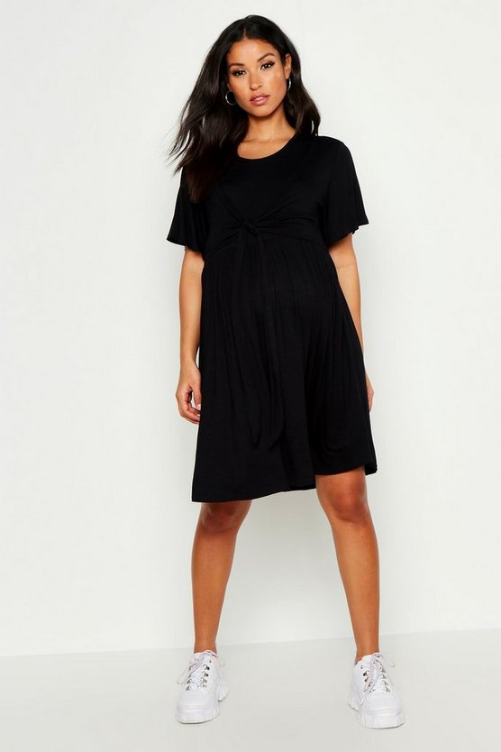 Womens Black Maternity Overlay Nursing Smock Dress