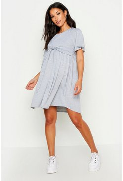 Grey Maternity Overlay Nursing Smock Dress