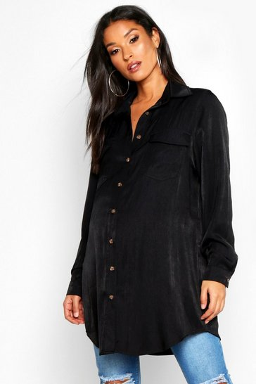 Womens Black Maternity Cotton Shirt