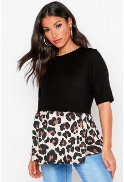 Womens Brown Maternity Contrast Leopard Smock Top