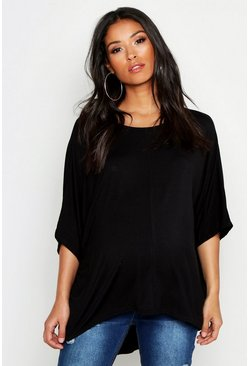 Womens Black Maternity Dip Hem Tunic T-Shirt